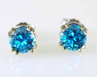 Natural Blue Zircon 14k Earrings