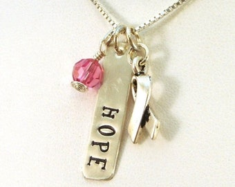SALE CIJ2017 Breast Cancer Gifts - Hope Necklace - Breast Cancer Awareness Jewelry