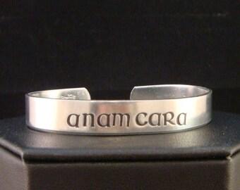 SALE CIJ2017 Anam Cara Cuff in Irish Font, Anam Cara Bracelet Cuff in Aluminum