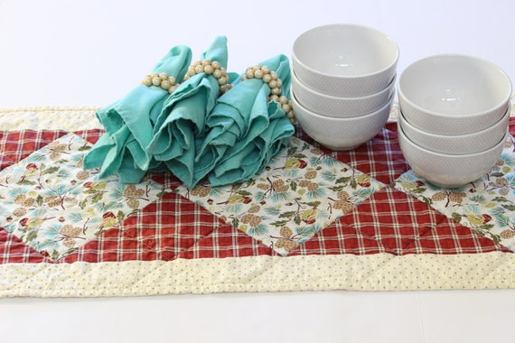 Red Plaid Quilted Holiday Table Runner