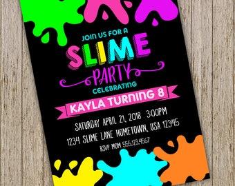 Slime Birthday Party Invitation, Slime invitation, Slime Party,  Neon Invitation, Slime Party Invitation, Slime Theme