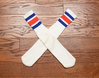 vintage 80s tube socks red white blue stripe tube socks deadstock 1980 tube socks patriotic 4th of July USA