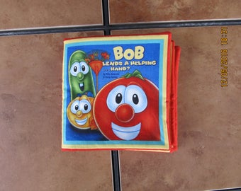 Veggie Tales Bob Lends a Helping Hand? Quiet Soft Cloth Baby Toddler Story Book Handmade Ready to Read