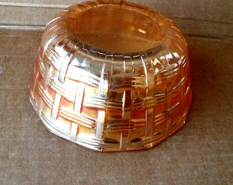 Vintage Basketweave Carnival Glass Bowl Collector Lusterware Round Glassware Coffee Table Display Basketweave Pattern Colored Glass Bowl