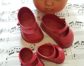 Adorable vintage red doll shoes mary janes shoes with straps one pair or both your choice