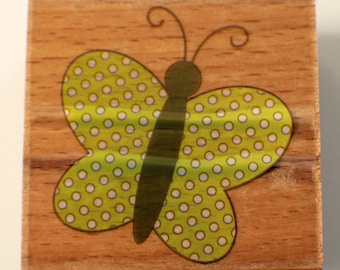 Butterfly Whimsical Dotted Hampton Art Studio G Wooden Rubber Stamp