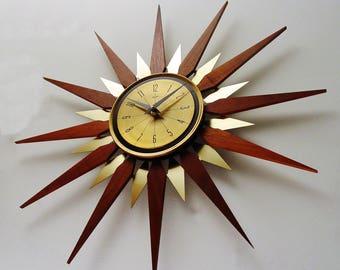Starburst Clock by Welby, Mid Century Modern 1970s Sunburst Wall Clock