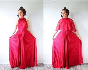 40% OFF CHRISTMAS in JULY Vintage red/maroon maxi dress // floor length maroon dress // high neck open back strap dress / ball gown party dr