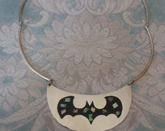 Vintage Alpaca Silver Mexico Hard Bib Style Choker Necklace w/ Inlaid Abalone Bat Design