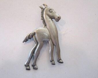 "vintage sterling horse pin 2 1/2"""