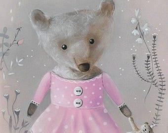 On Sale Nursery Print, Teddy Bear Art, Bear Art Print, Pink Grey Nursery Art, Girly, Nursery Illustration, Nursery Print, Teddy bear Art, Pa