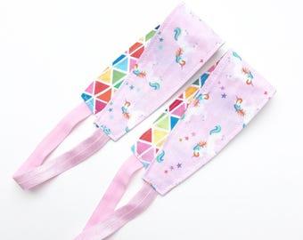 Rainbow Unicorn Headband for Women, Teens, or Girls. Reversible Fabric Headband for Yoga, Barre, Gym.