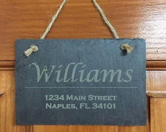 Customized Slate tile with Last name and address