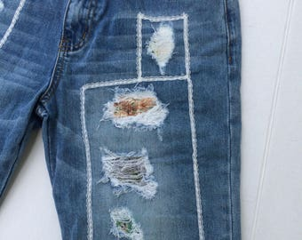 up cycled denim jeans, patched jeans, bermuda shorts, patchwork, distressed denim, size M, size 6-8