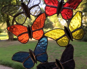 Stained Glass Butterfly Suncatcher Contemporary (PLG103)