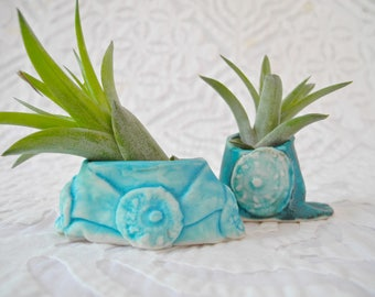 Air Plant Holders, Tiny Planters, Turquoise Planters, Tiny vase, small planter, pottery planter, ceramic planter, windowsill planter