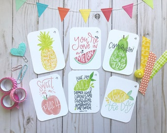 Summer Fruit - Encouragement Cards, Bible Journaling, Planner Card, Gift Tags, Be Sweet Pineapple, Watermelon, Pear, Peach, Lime, Lemon card