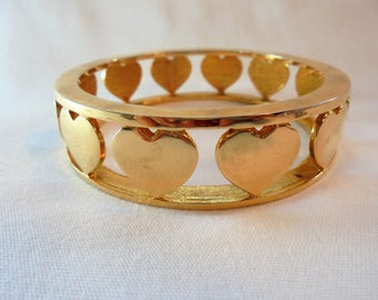 Vintage NOIR Heart Bangle Bracelet Gold Plated Tone Large Chunky Mod Designer High End Retro Art Deco Statement