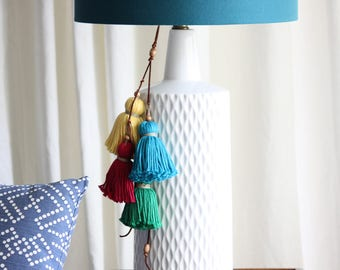 Boho Pom Pom Tassel Set. 4pc Set. Jumbo handcrafted Tassel Charm. Multi color, rainbow. Pom Pom Charm, Bag Charm. Tassel decor accessory.