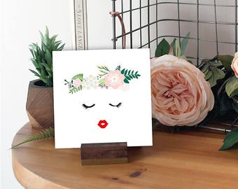 Flower Crown Red Lip Blush Pink Lady Wall Art - Gift
