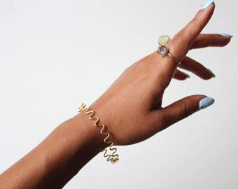 Gold Squiggle Closed Bangle Bracelet