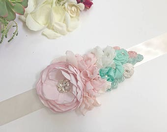 Pink Blush Mint Ivory Sash for a Bride - Pastel Colors Handmade Satin, Chiffon Flowers with Hand sewn Swarovski Pearl and Sew on Crystals