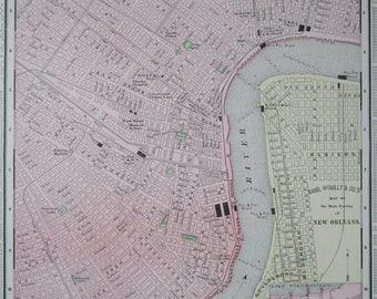 Antique NEW ORLEANS Map. 1895. LOUISIANA Map. 11x14 Original Rand McNally Pastel Wall Map Art.