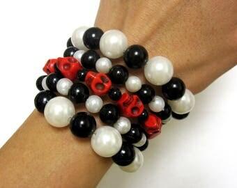 Day of the Dead Skull Bracelet Black White Red Stacked Diva Sugar Skull Bracelet