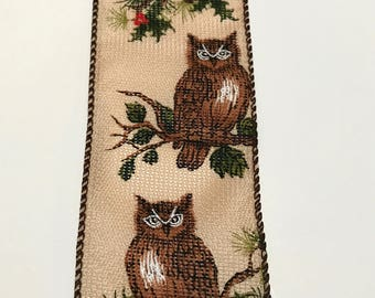 Realistic Owl Ribbon, Owl Branch Wired, Natural Owl in Tree, 5 or 10  YARDS, 2.5 in. wide, Owls on Branches, Brown and Taupe, Holly Berries