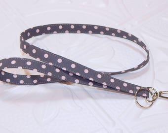 Lanyard - Id Badge Holder - Id Holder - Key Lanyard - Teacher Lanyard - Fabric Lanyard - Keychain - Polka Dot Lanyard