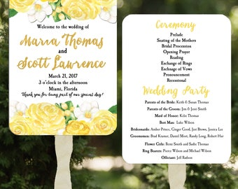 Wedding Program Fans Printable or Printed with FREE Shipping - Yellow Rose Floral Collection