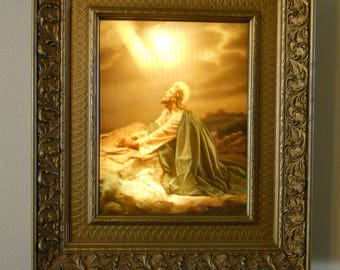 """Vintage Borin Art Products """"VITA Vision"""" 3-D Jesus Lighted Picture Box RARE! Large 21""""x18"""" Religious Wall Decor"""