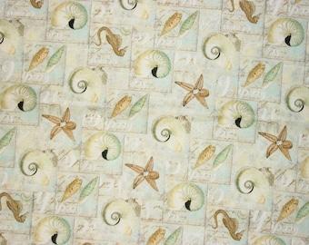 Beach Fabric, By The Yard, Seashell Fabric, David Textiles, Starfish Fabric, Quilting Fabric, Sewing Fabric, Ocean Fabric, Seahorse Fabric