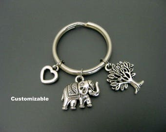 Elephant Keychain / Elephant Key Ring / Elephant Lover / Elephant Gift / Customizable Keychain / Personalized Keychain / Tree of Life