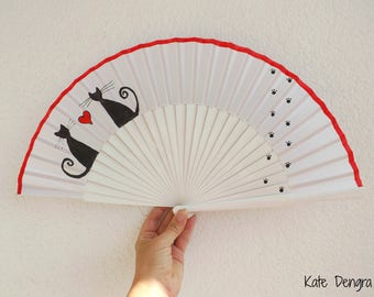 Love Cats SIZE OPTIONS Hand Painted Wooden Hand Held Fan Made to order by Kate Dengra Spain