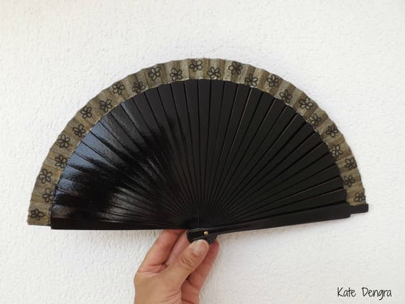 Black and Gold Flower Hand Fan Small