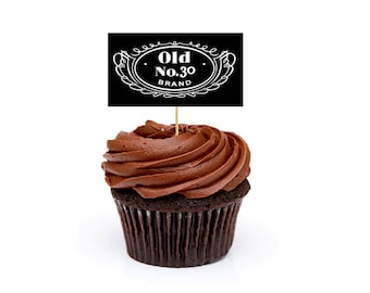 Jack Daniels Cupcake Toppers, 30th Birthday, 30th Birthday decor, Jack Daniels decor, Jack Daniels party, Old No.30