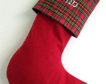 New Christmas 2017 - 5 Plaid Red Flannel Christmas Stockings, Personalized Embroidery Your Name On Tartan Cuff, Xmas Stocking With Name