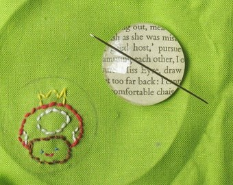 Magnetic Needle Minder Keeper. Literature Jane Austen Eyre Glass Magnet. Charlotte Bronte Craft Supplies Sewing Cross Stitch Handmade