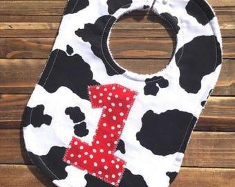 Baby Cow Bib, Baby Bibs, Cowboy Party, Cowgirl Party, Farm Animal Baby Bib, Farm Themed Birthday Party, Cow Print, Barnyard Party, Bibs