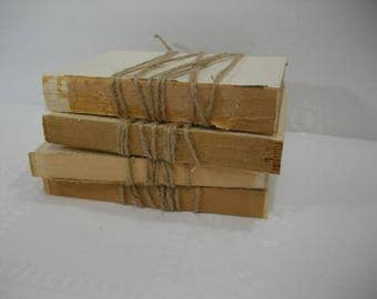 Vintage Books for Decorating / Unbound Books / Rustic Unbound Books Wrapped in Twine / Rustic Decor Uncovered Books / Farmhouse Decor