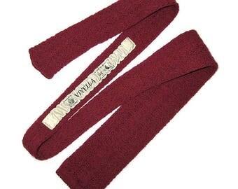 Dark Red Crochet Tie, Wine Red Tie, Marroon Tie, Square End Tie, Pure Wool Tie, Vintage Mens Tie, Wool Viyella Tie, Made in Canada