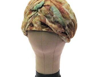 60s Turban Hat, Green Brown Hat, Chiffon Turban,1960s Dress Hat, Vintage Womans Hat,