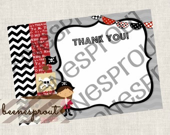 Instant Download Pirate Thank You Note Birthday