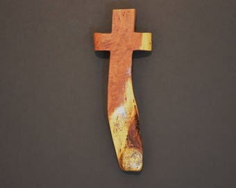 "Wooden Wall Cross; 3.5""x10""x1""; Rustic Cabin Decor;  Unique Design; Crooked Cross; Mesquite; Handmade;  Free Ground Shipping cc25-1121617"