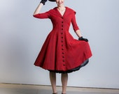 1950's Gigi Young Dress 50's New Look Day Dress Full Skirt Sailor Collar Red and Black Dress