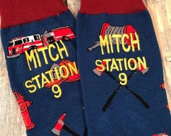 Fireman Socks - Mens Monogram Socks - Fire Fighter Graduation Gift - Fireman Gift - second anniversary - Mens Christmas Gift - Fire Fighter