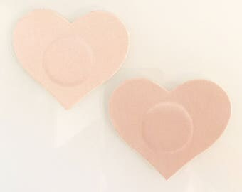 Nude/Champagne satin heart pasties/nipple covers