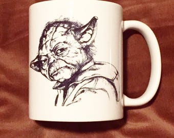 Yoda Mug Star Wars inspired Original Hand Drawn Fan Art