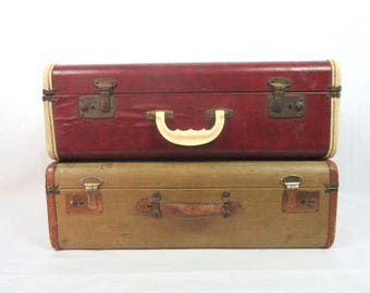 Vintage Luggage / Suitcase / Rustic Decor / Storage / Red Ivory